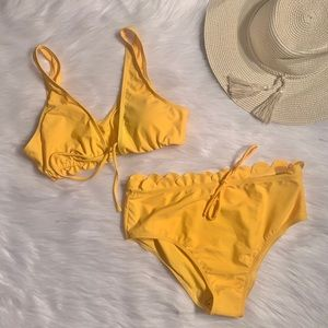 Yellow two piece high waisted bikini size XL